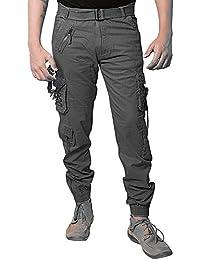 Malvina Men's Cotton Solid Dark Grey Relaxed Fit Zipper Cargo Jogger Pants