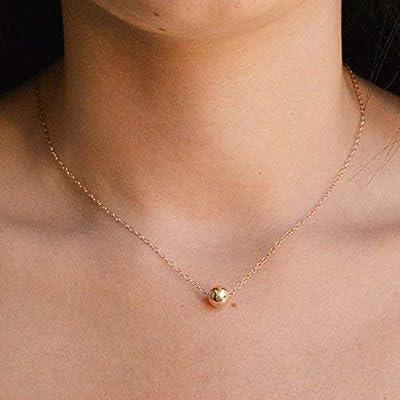 Collier boule en or rose Collier minimaliste en perles de rose remplies d'or rose Longueur 41cm / 5cm Extender