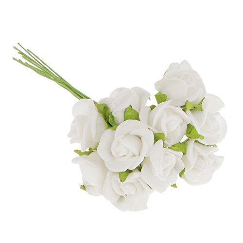 Magideal 100pz mini artificiali rose fiori bouquet sposa di cerimonia nuziale decorazione casa bianca, 10 centimetri
