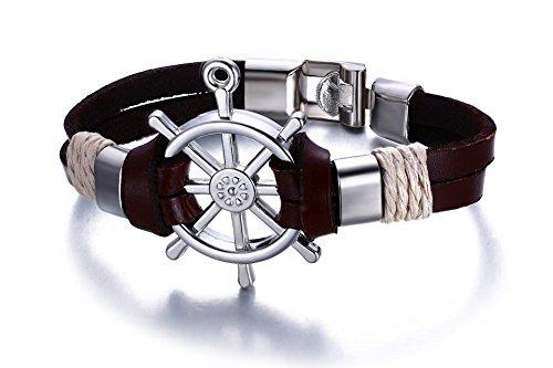 Vnox Herren Damen Legierung Echt Leder Nautik Kompass Richtung Erkunden Leben Armband Braun,20cm
