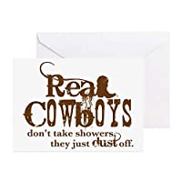 CafePress Real Cowboys Greeting Card (20-Pack), Note Card with Blank Inside, Birthday Card Glossy