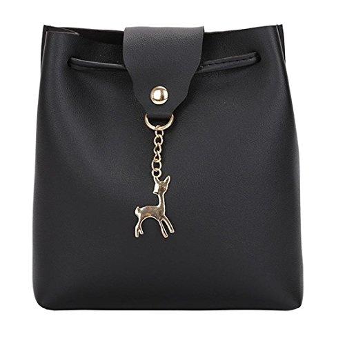 Kangrunmy borse tracolla tablet,donna in pelle crossbody borsa piccoli cervi spalla borse borsa messenger bag twinset borse tracolla (nero)