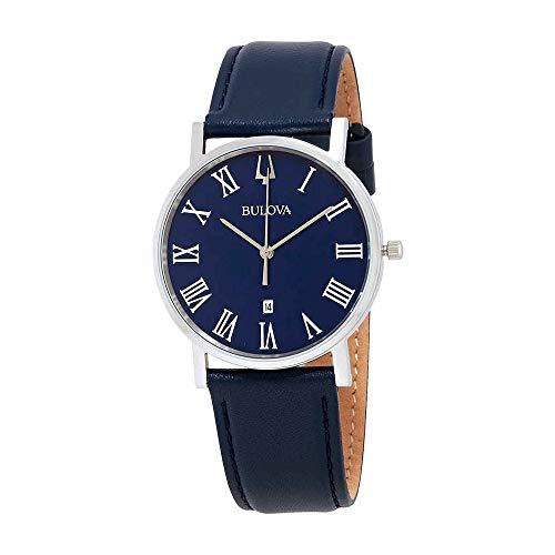 Bulova 96B295 - Reloj de pulsera para hombre, esfera azul clásica, correa de piel