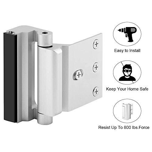 Door Lock Chrome - 12 x stronger than a conventional dead bolt, Serrure de Sécurité Portes et Poignées