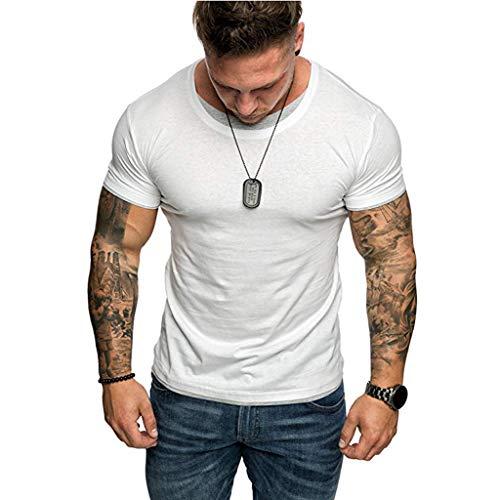 Ninasill Hot!Herren T-Shirt, Größe L, farblich passend, kurzärmelig, atmungsaktiv, modisch, sportlich, lässig Asian L= US M weiß -