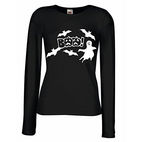 Weibliche Langen Ärmeln T-Shirt BAAA! - Funny Halloween Costume Ideas, cool Party Outfits (Small Schwarz Mehrfarben)