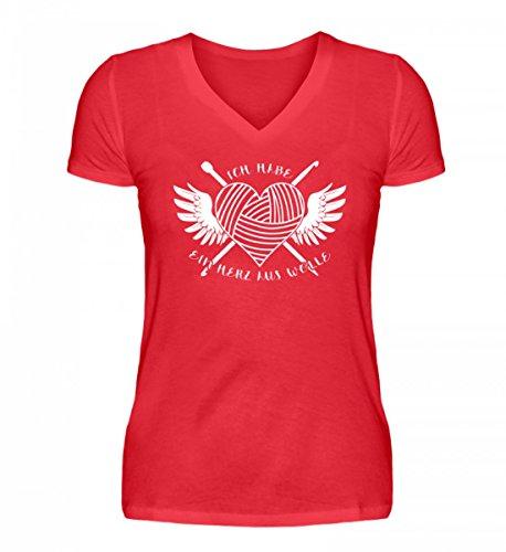 Shirtee Dunkel Rot Damenshirt Wolle V Hochwertiges Aus Neck Herz HqfnH10