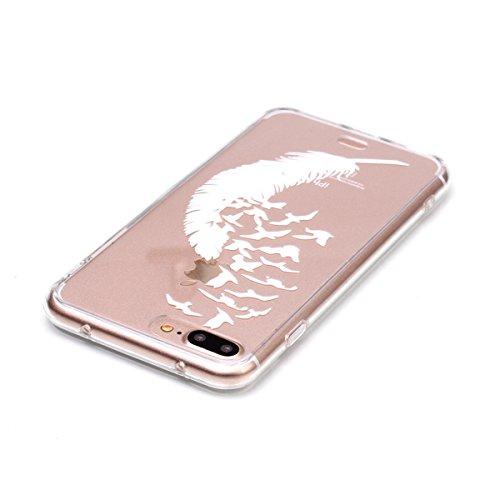 Ukayfe Custodia per iPhone 7/8 plus,UltraSlim TPU Gel Gomma Silicone Copertura Case per iPhone 7/8 plus,Crystal Clear Skin Custodia Stilosa custodia di design Protettiva Shell Case Cover antigraffio C Piuma