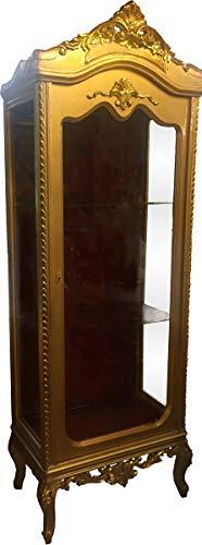 Casa Padrino Barock Vitrine Gold/Bordeaux H 205 cm, B 70 cm - Vitrinenschrank - Wohnzimmerschrank Glasvitrine - Antik Look