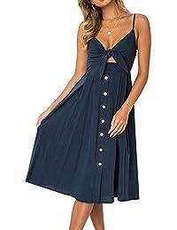 Msliy Damen Vintage Kleider Sommerkleid Bauchfrei Ärmellos Knielang  Trägerkleid Partykleid Schleife Rückenfrei… 19f4c8ad3c