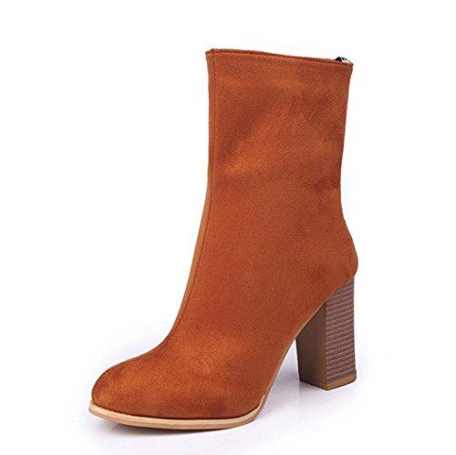 Botas, DoraMe Mujeres hebilla damas falso botas calientes botines zapatos de tacón alto Martin (EU:40, Amarillo)