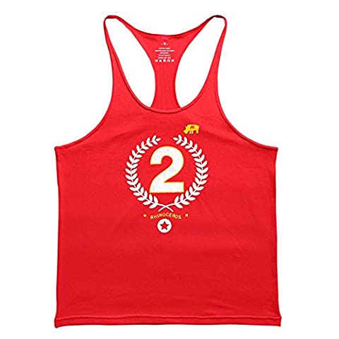 Alivebody Herren Bodybuilding Y Zurück Stringer Tank Top Straight Bottom Rot M (Fahrrad Tank Top)