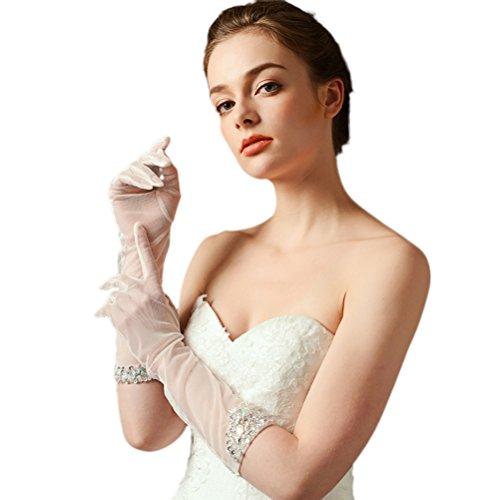 DreamyDesign Brauthandschuhe Ivory Braut Handschuhe Strass (Beige)