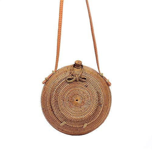 Mnjin Badezimmerspiegel Damen Handtasche Bambus Handtasche für Frauen Große Kapazität Sommer Reise Handcrafted Strand Handtasche Umhängetasche -