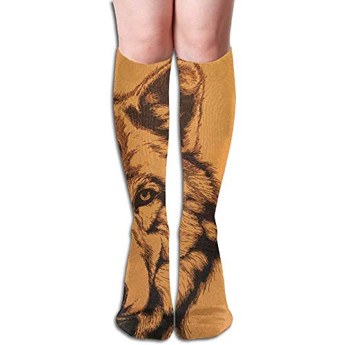 Nifdhkw Highly Elastic,Durable, Flexible,Wolf Close Up School Long Socks Over-Knee Socks High Fitness Novelty Socks Girl Stockings Stylish Design 60cm