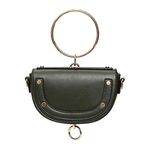 ZPFME Frauen Handtasche Mini Retro Sattel Tasche Mädchen Party Retro Damen Mode Ring Schultertasche Messenger Bag Green