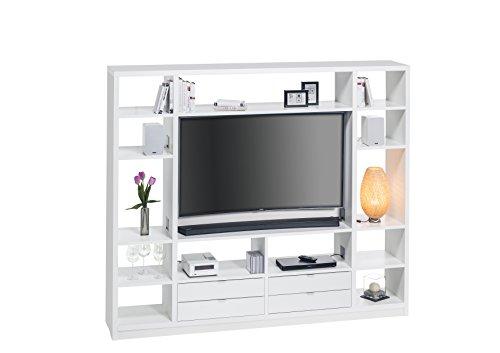 MAJA Raumteiler Wandregal Cableboard 6022 in Weiß 220x186x40cm Bücherregal Wohnwand - 2