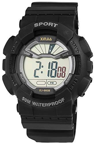 Xinjia Reloj de Hombre Negro Fecha Luz Digital Piel Reloj de Pulsera