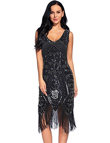 Flapper Girl 1920er FLAPPER Kleid Quaste Damen Pailletten Gatsby Kostüm Kleider Gr. 40, (Jahren Flapper Kostüme 1920er Girl)