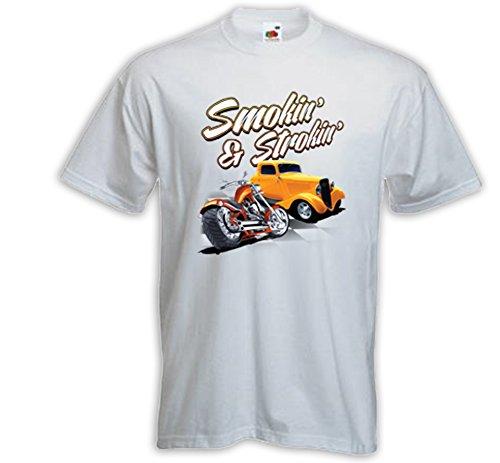 Hot Rod T-Shirt Smokin and Strokin weiß Vintage Rockabilly V8 Biker Weiß