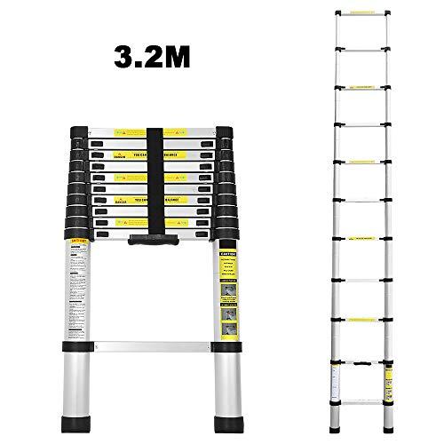 3.2M Teleskopleiter Alu Klappleiter Multifunktionsleiter Leicht zu tragen max Belastbarkeit 150 kg