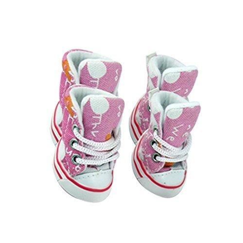 Maat 3 Flower Brief Gedrukt Canvas Roze Laarzen voor hond -