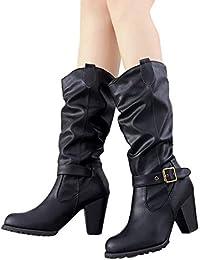 77a92391feb5 BHYDRY Damem Winter Frauen Schuhe High Heel Stiefel GüRtelschnalle Im  Freien Freizeit Overknees Mit Blockabsatz Flandell