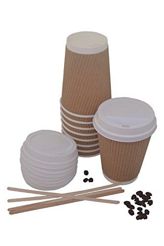 Lot de 100 durable jetables papier kraft triple Paroi Ripple Tasses 340,2 gram/340 ml avec couvercle Blanc et 17,8 cm agitateurs pour thé, café, cappuccino, vin chaud et froid boissons