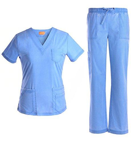 JS1607 Cielblau V-Ausschnitt Stretch Damen Scrubs Medical Uniformen Lady Scrubs - - X-Klein -