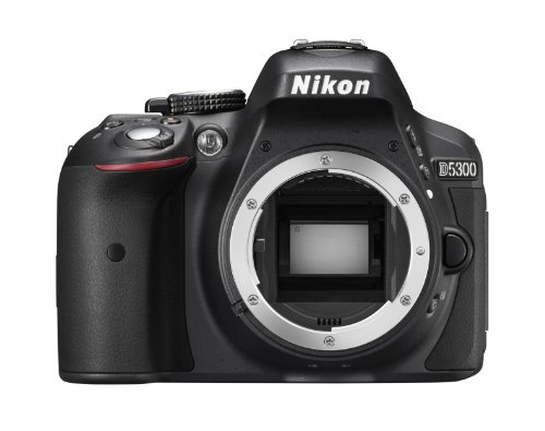 dslr mit wlan Nikon D5300 SLR-Digitalkamera (24,2 Megapixel, 8,1 cm (3,2 Zoll) LCD-Display, Full HD, HDMI, WiFi, GPS, AF-System mit 39 Messfeldern) nur Gehäuse schwarz