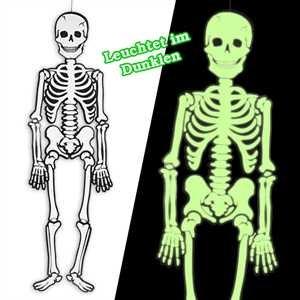 Im Leuchtet Dunkeln Kostüm Skelett - Skelett leuchtet im Dunkeln, 1,2m XL