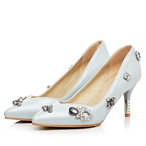 VogueZone009 Femme Pointu à Talon Correct Pu Cuir Couleur Unie Tire Chaussures Légeres Bleu