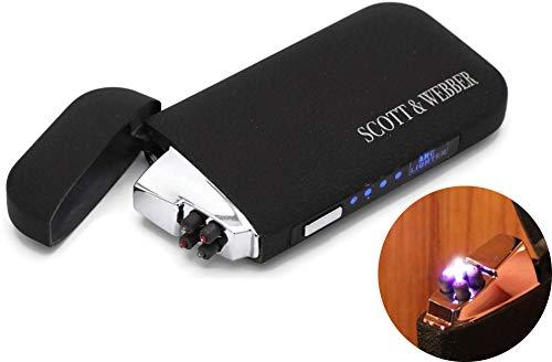 Scott & Webber – USB Feuerzeug mit Doppel Lichtbogen Schwarz matt, elektrisches Feuerzeug aus Metall, Plasma, Sturmfeuerzeug, wiederaufladbar, Batterieanzeige und USB-Kabel #SMART #Easy #ELEGANT