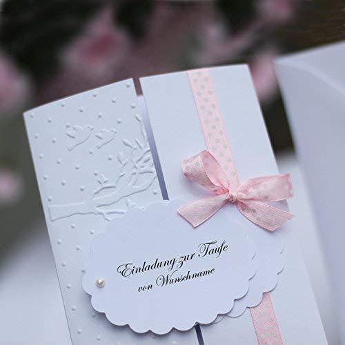 10 personalisierte Einladungskarten Einladung Taufeinladung Taufkarte Karten zur Taufe Konfirmation Kommunion Lebensbaum Tauben Mädchen Handarbeit binnbonn
