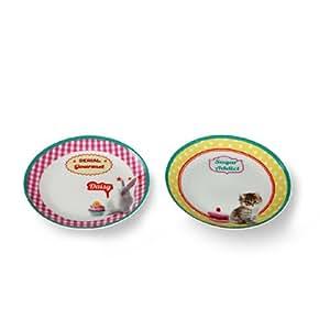 Silea 1337/1032 Set de 6 Assiettes Dessert Puppy Porcelaine 2 cm