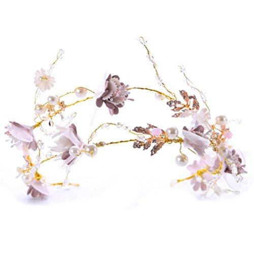 Frcolor Hochzeit Braut Stirnband Perle Blumen Haar Rebe Hochzeit Kopfschmuck Haarband