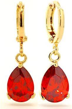 Genuine gota de oro amarillo de 18K/Dangle gotas pendientes con Transparente Fire Rojo Gemas con caja de joyas Negro