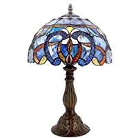 Tiffany Style Lamp Stained Glass Table Lamps Blue Purple Clouldy Lampshade 18 Inch Tall Antique Bookcase Beside Desk Reading Lighting For Living Room Bedroom