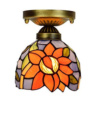 KCoob Kleine Deckenleuchte Painted Mattglas Sunflower LED Birne Warm Light Vintage Lampe Schüssel Form Metall Basis -