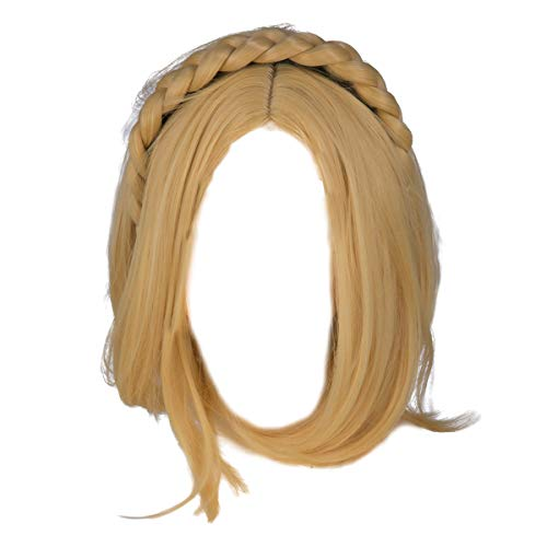 Dailygocn The Legend of Zelda Prinzessin Perücke Cosplay Kostüm Damen Blonde Kurze Braid Stirnband Haar Halloween Fancy Dress Zubehör (Legend Of Zelda Kostüm Cosplay)