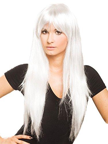 Fun-Perücke Lofty GAGA in Weiß, Farbnr. 06, lang, ca. 30 - 45 cm, glatt, Kunsthaar, echthaar-ähnlich, strapazierfähig, professionelle Theaterqualität, aus der (Verrückt Kostüm Total)