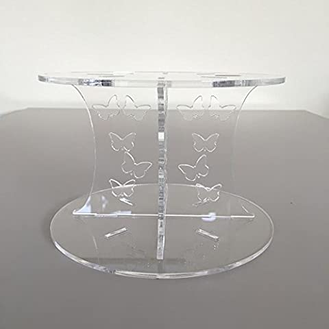 Butterfly Design Round Single Tier Cake Stand - Clear -
