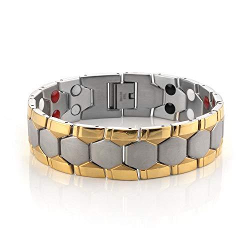 LaPersetur Magnetische Armband Klassische Persönlichkeit Titan Magnetische Energie Magnet Anion Schmerzlinderung Für Arthritis Karpaltunnel Beste Jahrestag Geburtstag Schmuck GiftGolden Plaid -