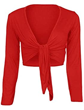 Donna manica lunga Tie Up Bolero Coprispalle Cardigan Top