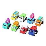 Toymytoy 8Pcs Mini Modelos de Autos Tirar hacia atrás Juguetes Combinados en Caja Juguetes educativos para niños Niños (Patrón Mixto)