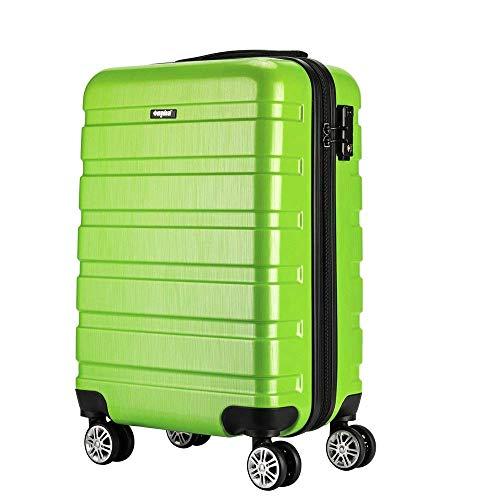 Amasava valigie rigide ABS+PC hard shell super leggero da viaggio Carry On trolley 8 ruote valigia,55cm,40L, Verde