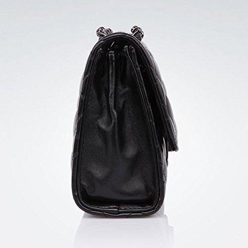 Frühling und Sommer Mode Tide Ling Raster Kette Paket für Frauen Frau Tasche Schulter Messenger Bag Damentaschen Schwarz 2