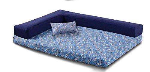 DIAMO Orthopädische Haustier-Schlafsofa - Hund, Katze oder Welpe Gedächtnis-Schaummatratze - Bequeme Couch für Haustiere mit entfernbarem waschbarem Abdeckung, Blue, l -