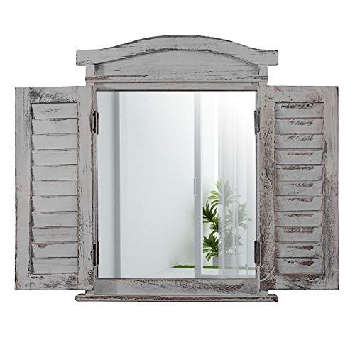 Mendler Wandspiegel Spiegelfenster mit Fensterläden 53x42x5cm ~ grau Shabby