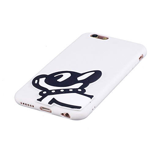 iPhone 6 Plus Custodia, iPhone 6S Plus Cover, JAWSEU Apple iPhone 6 Plus / 6S Plus Protezione Disegno Creativo 3D Sollievo Cartone Animato Silicone Custodia Cover Case Caso TPU Morbida Flessibile Gomm 3D Cane nero